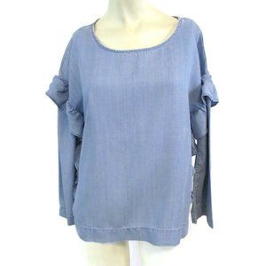 Two by Vince Camuto Blue ruffle Top Small